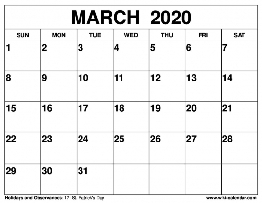 Free Printable March 2020 Calendars