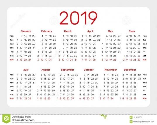 Haga Calendarios La Plantilla Por 2019 Años En El Fondo