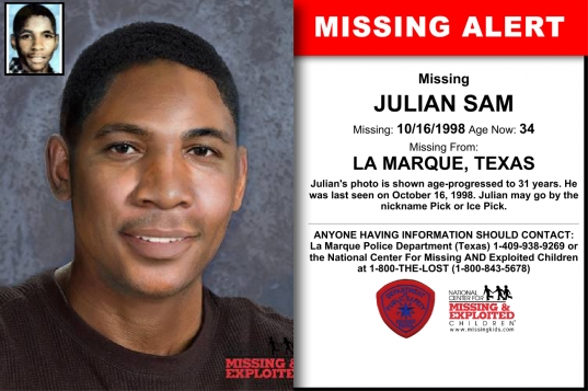 Julian Sam, Age Now: 34, Missing: 10/16/1998. Missing From