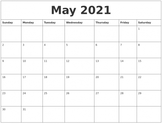 May 2021 Blank Monthly Calendar Template