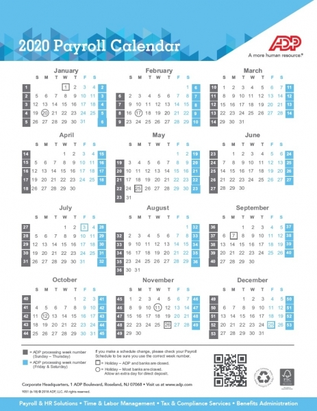 Payroll Calendar 2020 | Weekly, Biweekly, Semi Monthly