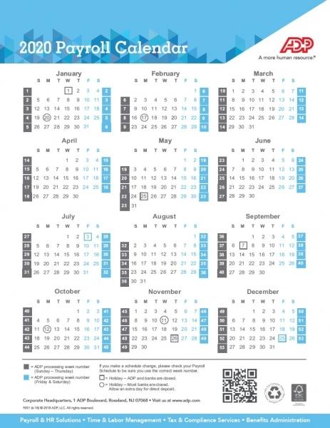 Payroll Calendar 2020 | Weekly, Biweekly, Semi Monthly