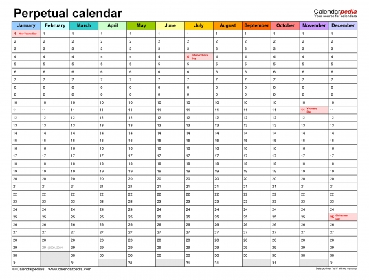 Perpetual Calendars   Free Printable Pdf Templates