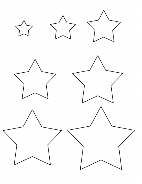 Star Templates   1, 1.5, 2, 2.5, 3, 3.5, And 4 Inches | Star