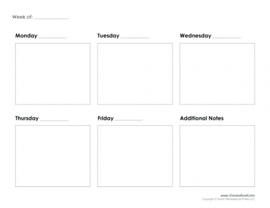 Take Free Blank 5 Day Calendar | Printable Calendar Template