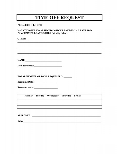 Vacation Request Forms 2014 Free Printable | Printable