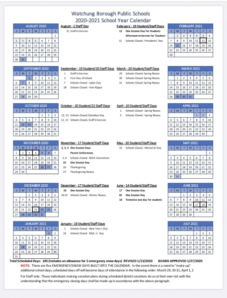 Watchung Board Of Education Approves 2020 21 Calendar | Tapinto
