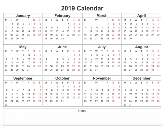 2019 Calendar Printable Free A4 Template | Weekly Calendar