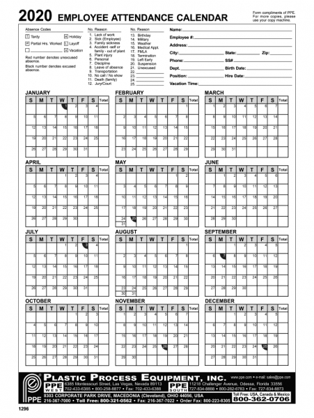 2020 Attendance Calendar   Fill Online, Printable, Fillable