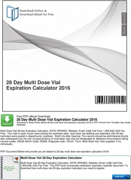 28 Day Multi Dose Vial Expiration Calculator Pdf Free Download