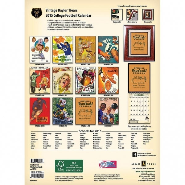 Baylor Vintage Football 2020 Wall Calendar (with Images