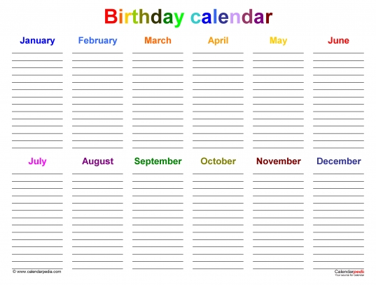 Birthday Calendars   Free Printable Microsoft Word Templates