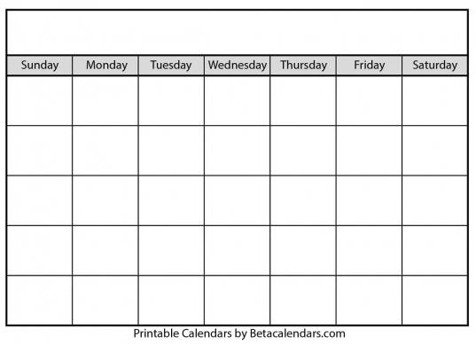 Blank Calendar   Beta Calendars