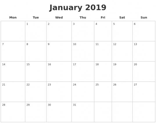 Blank Calendar January 2020 Template Word Excel | Blank