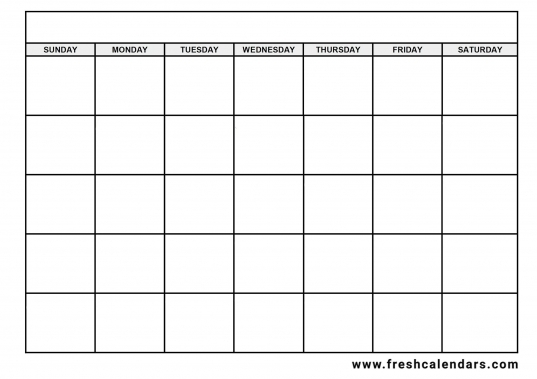 Blank Days Of The Week Calendar   Free Calendar Template Example