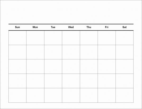 Collect Blank Calendar 5 Day Week   Calendar Template