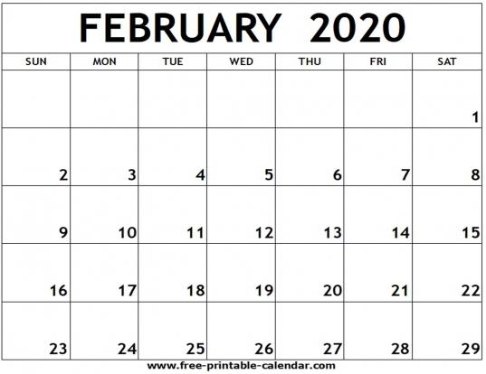 February 2020 Printable Calendar   Free Printable Calendar
