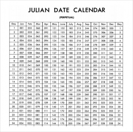 Free Printable Julian Calendar 2020 Blank Template