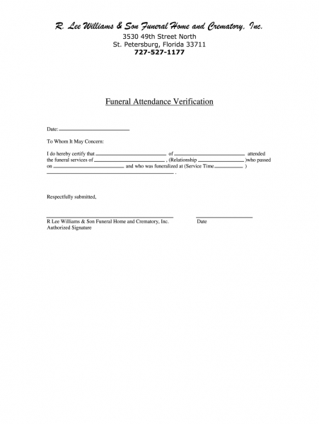 Funeral Attendance Verification Form   Fill Out And Sign Printable Pdf  Template | Signnow