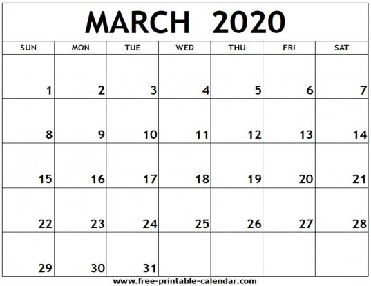March 2020 Printable Calendar   Free Printable Calendar