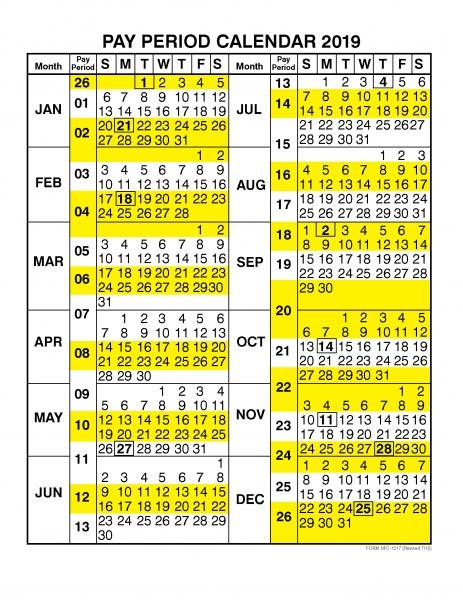 Pay Period Calendar 2019  Calendar Year | Free Printable