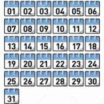 Preschool Calendar Numbers 1-31