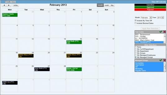 Time Off Calendar