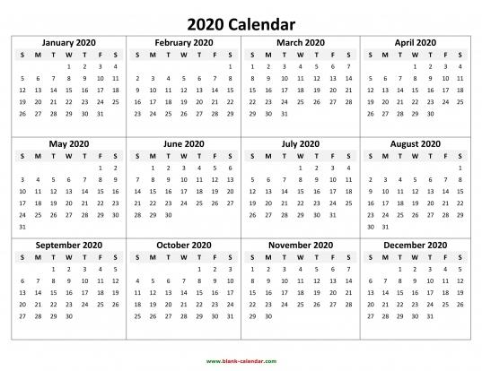 Whole Year Calendar 2020 Printable