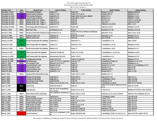 2019 ‐ 2020 Liturgical Calendar (year A)   Christian
