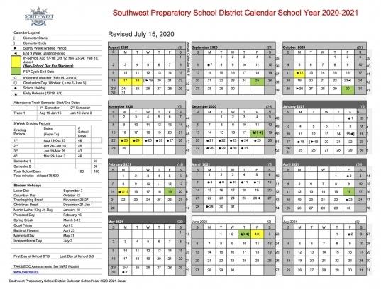2020 21 School Calendar – Parents And Students – Southwest