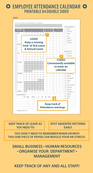 2020 A4 Printable Employee Attendance Calendar/tracker For