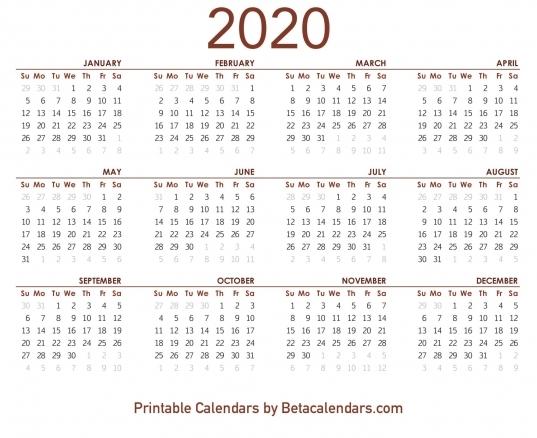 2020 Calendar   Free Printable Yearly Calendar 2020
