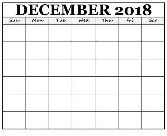 Blank December 2019 Calendar Printable | 12 Month Printable