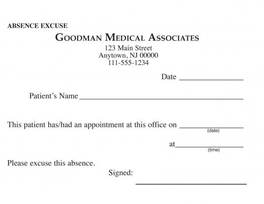 Blank Printable Doctor Excuse Form | Keskes Printing   Mds