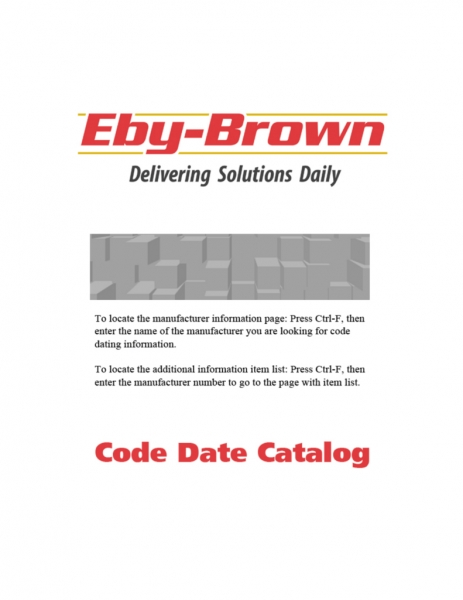 Code Date Catalog   E