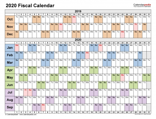 Fiscal Calendars 2020   Free Printable Pdf Templates