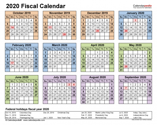 Fiscal Calendars 2020   Free Printable Pdf Templates