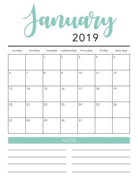 Free 2020 Printable Calendar Template (2 Colors!)   I Heart
