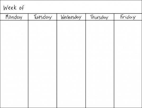 Free Blank 5 Day Calendar | Template Calendar Printable Make