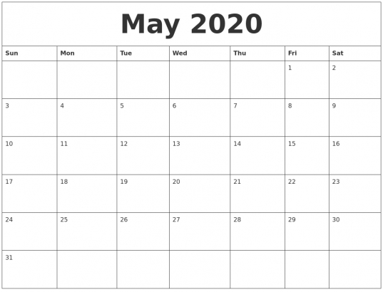 Free Blank May Calendar 2020 Printable Template In 2020