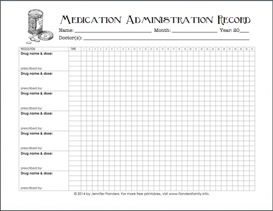 Free Chart For Keeping Track Of Medications   Flanders