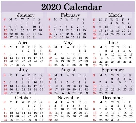 Free Printable 2020 Calendar Word, Pdf, Excel Document