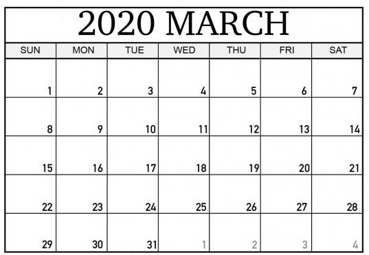 March 2020 Editable Calendar Template   Printable Calendar