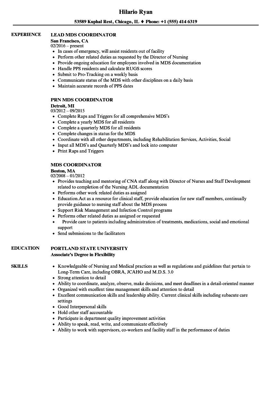 Mds Coordinator Resume Samples | Velvet Jobs