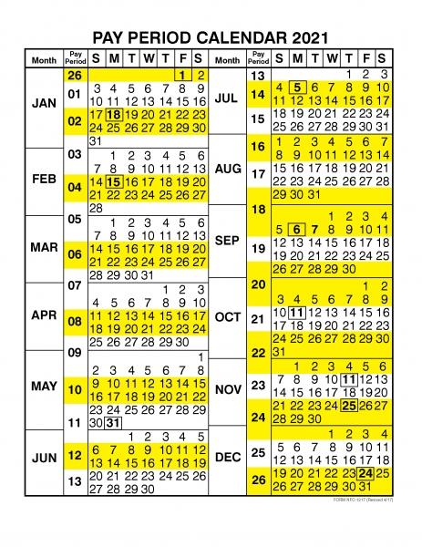Pay Period Calendar 2021  Calendar Year – Free Printable