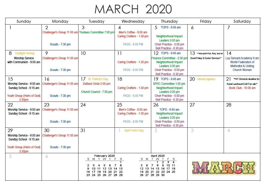 18 Month Planning Calendar - Saint Andrew United Methodist