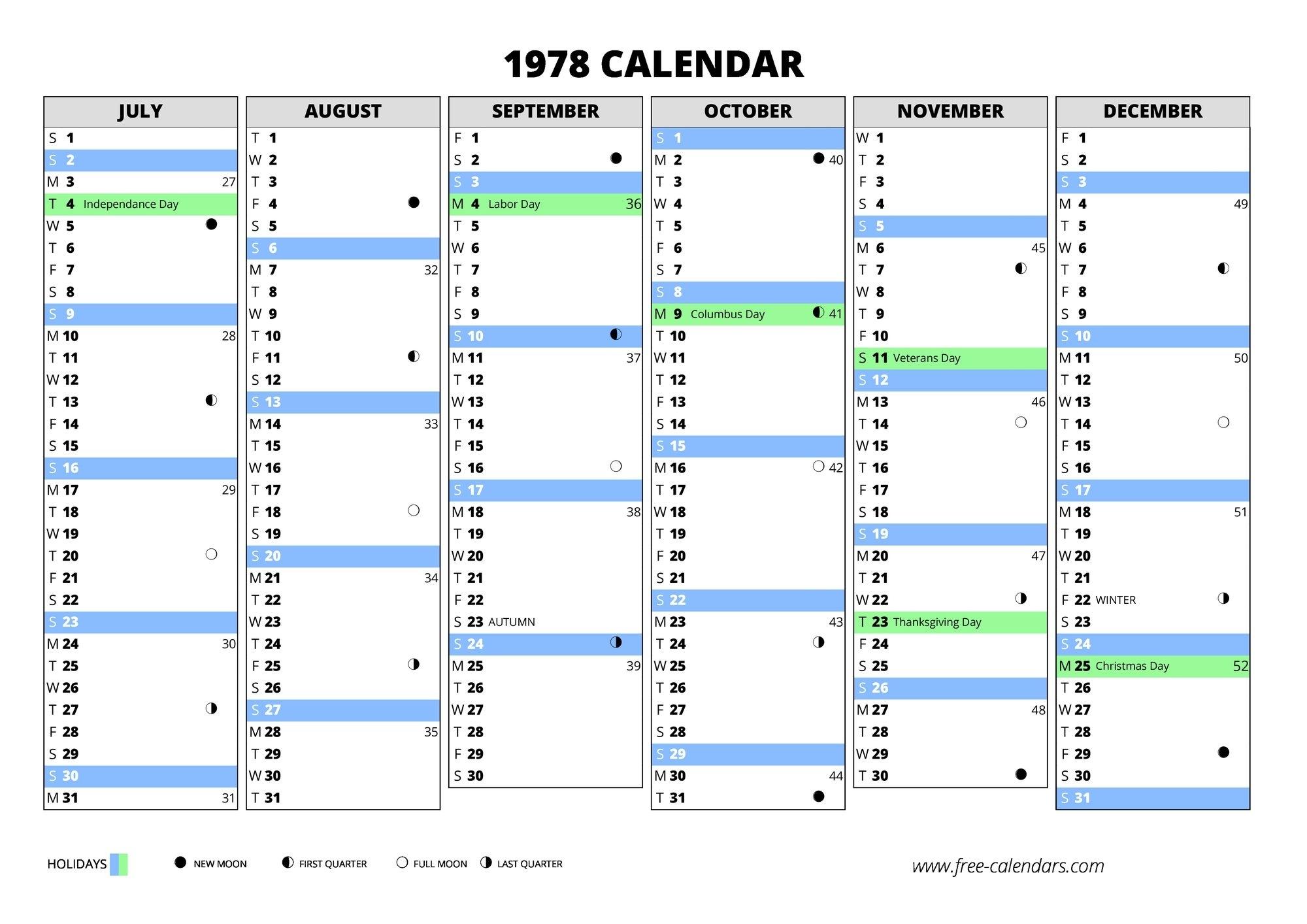 1978 Calendar ≡ Free-Calendars