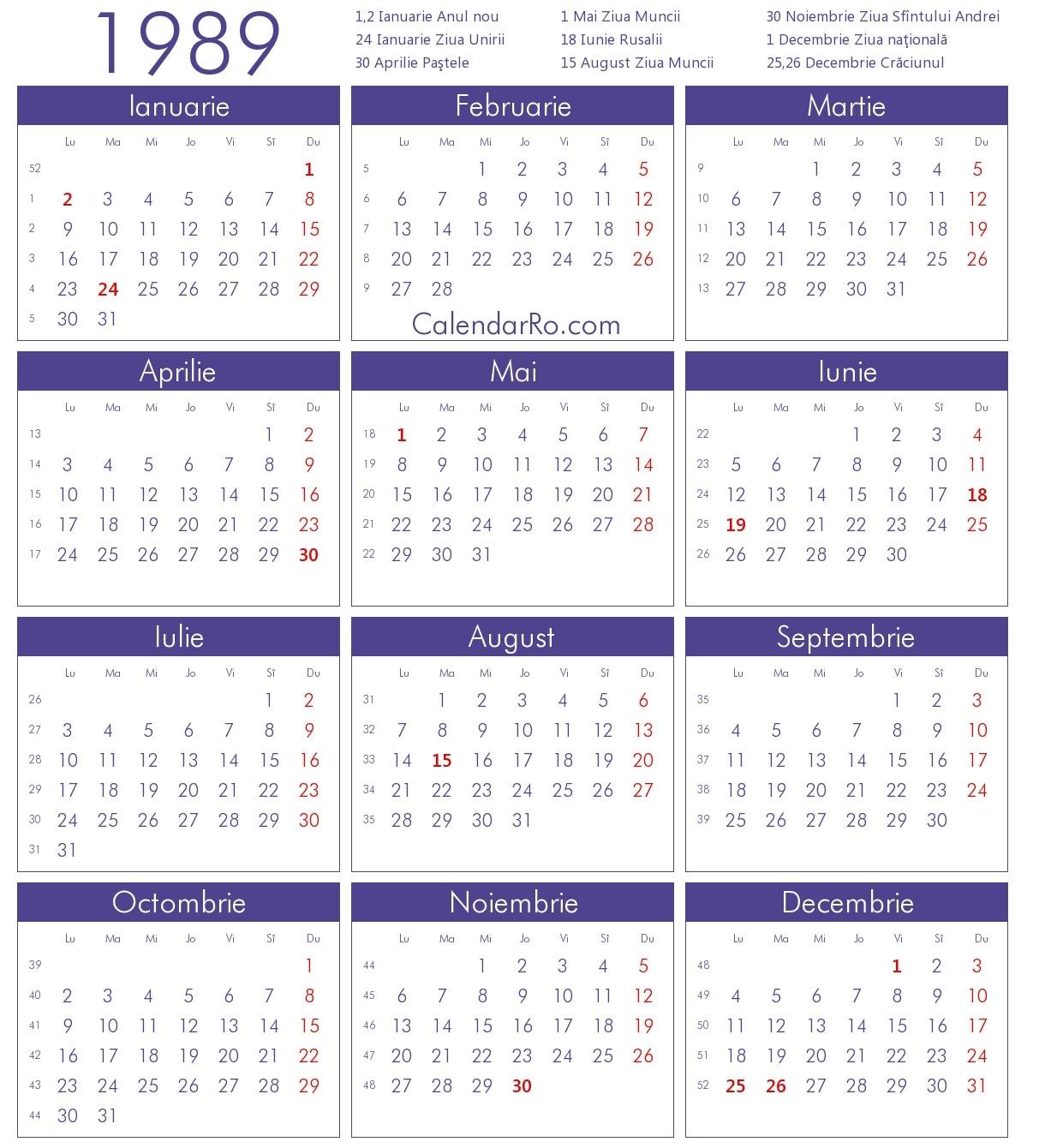 1989 Calendar Uk | Qualads