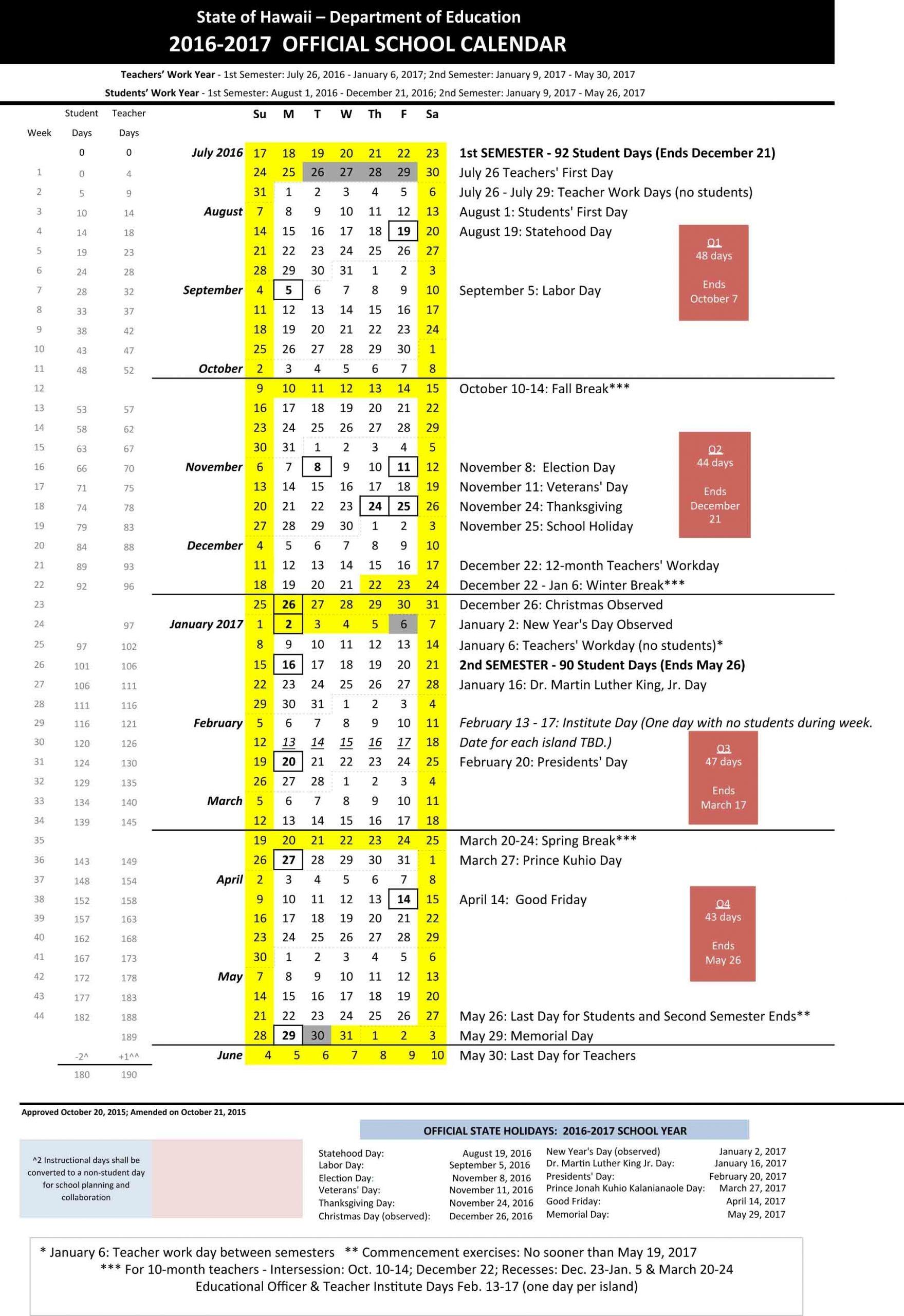2016-17 State Of Hawaii Doe School Calendar - Maui Family