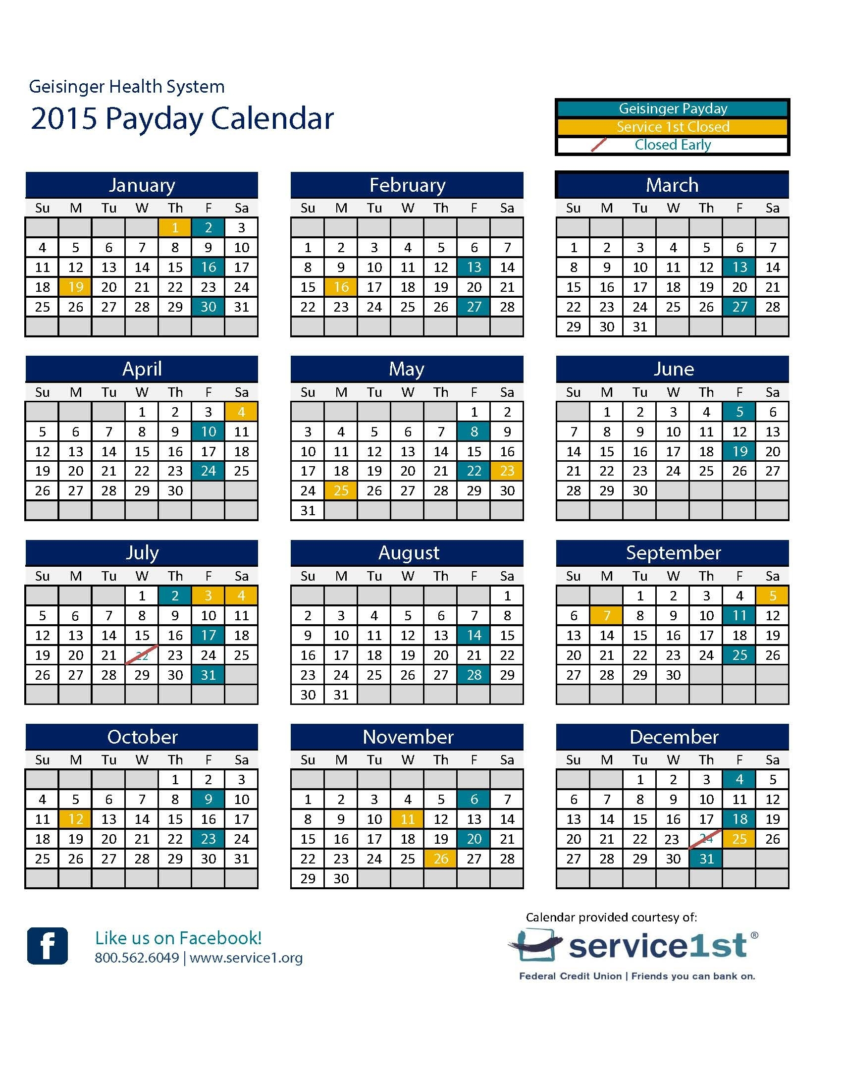 2016 Calendar With Federal Paydays | Calendar Template 2020